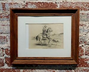 Ted Littlefield -Gunfighter on Horse - Original 1950s Drawing on Paper
