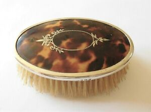 Antique Sterling Silver tortoiseshell pique oval brush c 1925 Birmingham U.K