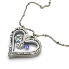 Crystal Silver Classic Heart Memory Locket Necklace For Floating Charm