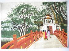 ‿ * bordado * ‿ pagode-templo ‿ verano ‿ puente con 3 chicas ‿ procedentes de Vietnam