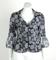 Joseph Ribkoff Jacket Zip Front 3/4 Sleeves Black White Circle Print Size 8 New
