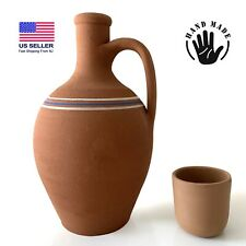 Earthenware Clay Water Pitcher with a Mug, Terracotta Jug for Drinking Water