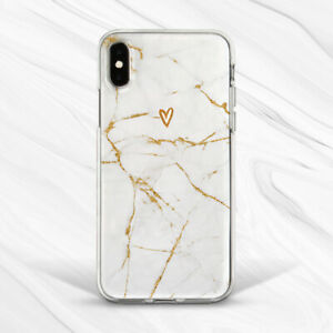 Gold White Girly Marble Heart Cute Case For iPhone 6 7 8 Xs XR 11 Pro Plus Max