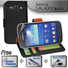 Black Wallet Money Card Leather Case Samsung Galaxy ACE 3 4G + SP Stylus Cable