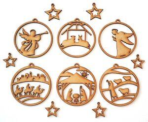 Christmas Decor Wooden MDF Shape - 4 Nativity & 2 Angels Baubles - 12 items set