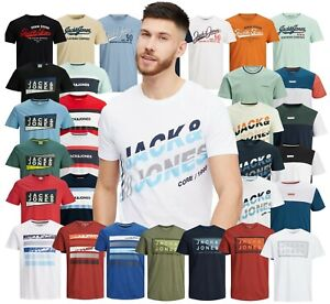 Mens T Shirt Jack Jones Printed Short Sleeve Crew Neck Casual Top Tee Size S-XXL