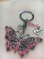 Personalised Handmade Butterfly Keyring Bag Charm Gift choose auntie, nanny etc