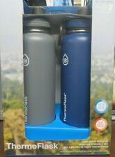 2 Pack, Thermoflask 40oz Stainless Steel Water Bottle Set Blue/Gray