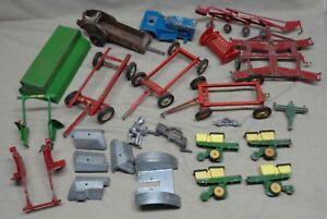 Lot Of Vintage John Deere Etc 1/16 Scale Tractors Etc Parts Restoration Lot