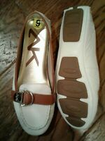 AK Anne Klein - iflex Sport White Leather Nearme Moccasin Shoes Loafer