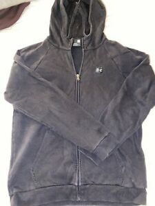 Men's Under Armour Black Zip Up Hoodie Large (faded) - See Photos!