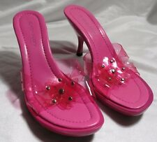 Size 7 DELICIOUS Women's Pink Open Toe Flower Jelly Sandals Heels Party Shoes