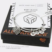 Authentic Alex and Ani Baby Block Rafaelian Silver Charm Bangle CBD