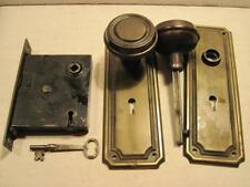 Antique Victorian Art Deco Door Knobs Plates Skeleton Key Lock Mortise Set & Key