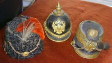 1890s 3 Miniature Austrian Military Officers' Helmets - Bronze, Leather & Velvet