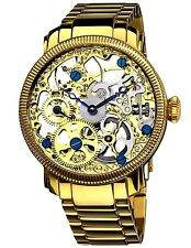 Akribos XXIV AK525YG Watch ANGLE Men's Skeleton Mechanical Yellow Color. New