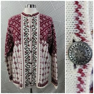 Cherry Lewis Womens size Large Cardigan Sweater Nordic Fair Isle Floral 100 Wool