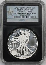 2013-W ER West Point Silver Eagle $1 SP 70 Enhanced Finish NGC Black Retro