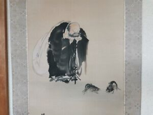 HANGING SCROLL JAPANESE PAINTING From JAPAN Lucky God Hotei Vintage Cock e092