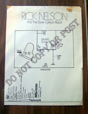 Vintage Rick Nelson And The Stone Canyon Band Original Concert Stage Layout