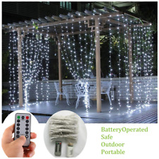 Battery Operated Curtain String Lights,300 LED Icicle Window Background Fairy ft