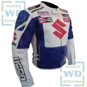 NEW SUZUKI 4269 White Blue - Motorcycle Coat Motorbike Biker Pure Leather Jacket