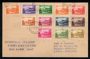 Norfolk Island - 1947 First Issue Sg 1-12 First Day Cover