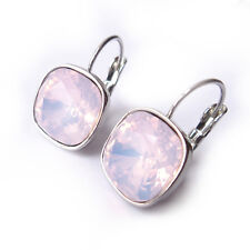 Rosewater Light Pink Drop Earrings w/ 12mm Cushion Cut Swarovski Crystal Prom