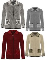 Womens Long Sleeve Knitted Cardigan Ladies Zip Pocket Leopard Collar Jacket