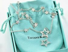 Tiffany & Co Silver Star Link Lariat Pendant Adjustable Necklace and Box Pouch