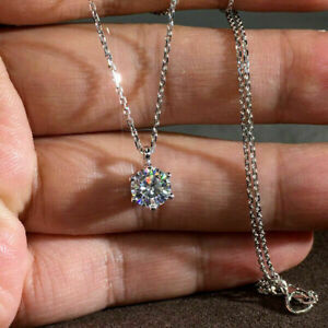 2Ct Round Moissanite Solitaire Pendant Solid 14K White Gold Finish Free Chain