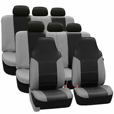 3Row Highback SUV Van Seat Covers Royal Leather for Auto Black Gray