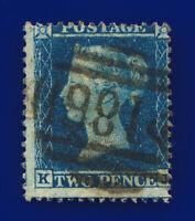 1855 SG34 2d Blue Plate 5 F6(1) KJ Misperf Chesterfield Good Used Cat £70 cvmc