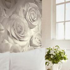 Muriva Madison Silver Glitter Pearl Cream Roses Floral Vinyl Wallpaper 139524