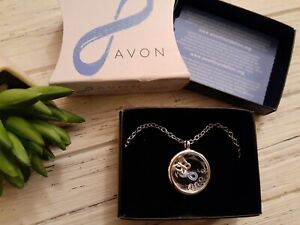 "2017 Avon ""Speak Out Against Domestic Violence"" Shaky Necklace Blue Ribbon"