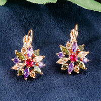Exquisite 925 Silver Sapphire Flower Earrings Women Wedding Jewelry Lover Gifts