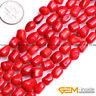 """Red Coral Gemstone Freeform Nugget Loose Beads For Jewelry Making Strand 15"""" YB"""