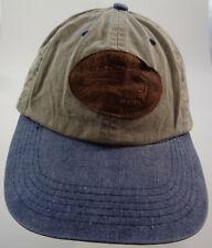 Estes Ark, Estes Park Colorado strapback baseball cap hat - tan / blue / leather