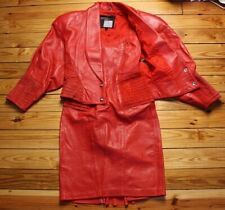 Vtg 90s Michael Hoban XS Red Leather Suede Pleat Dress Jacket Set North Beach