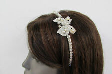 Fun Women Classic Fashion Headband Butterfly Silver Bling Cute Imitation Pearls