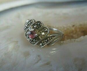 anmutiger ring silber 925 mit markasiten und amethyst vintage o älter 17mm