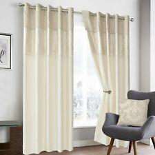 Luxury Faux Silk Damascus Jacquard Ring Top Ready Made Curtain Pair