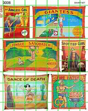3006 DAVE'S DECALS SCALE SIDE SHOW CIRCUS SET 4  FREAK SHOW BANNERS ARMLESS GIRL