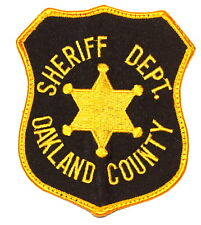 OAKLAND COUNTY MICHIGAN MI Sheriff Police Patch VINTAGE OLD GOLD STAR USED ~