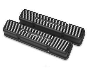 Holley 241-108 Small Block Chevrolet Script Finned Black Aluminum Valve Covers