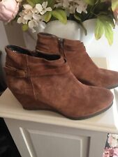 ❤️❤️OASIS TAN LEATHER SUEDE WEDGE HEEL ANKLE BOOTS UK 6 EU 39❤️❤️