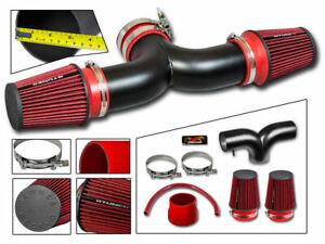 Short Ram Air Intake Kit MATT BLACK + RED for 02-08 Ram1500 3.7 V6 4.7 V8 Dual