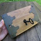 Antique Oak and Steel / Iron Decorative Door Lock with WORKING KEY