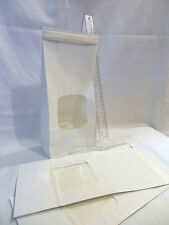 "25 White Bakery Bags 4 3/4 x 2 1/2 x 9 1/2""  Square Window 1 lb Coffee Cookie"