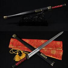 HIGH QUALITY CHINESE SWORD HAN JIAN (漢劍) FOLDED STEEL BLADE EBONY WOOD SAYA